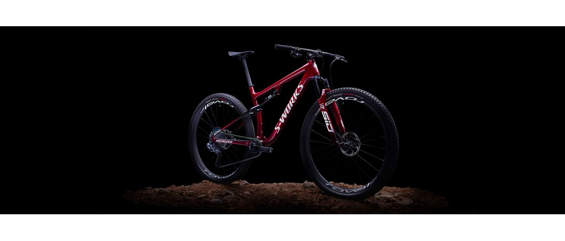 S-Works Epic Carbon 29 XC Specialized 2021 Gloss Red Tint Fade Over Brushed Silver/Tarmac Black/White w/ Gold Pearl