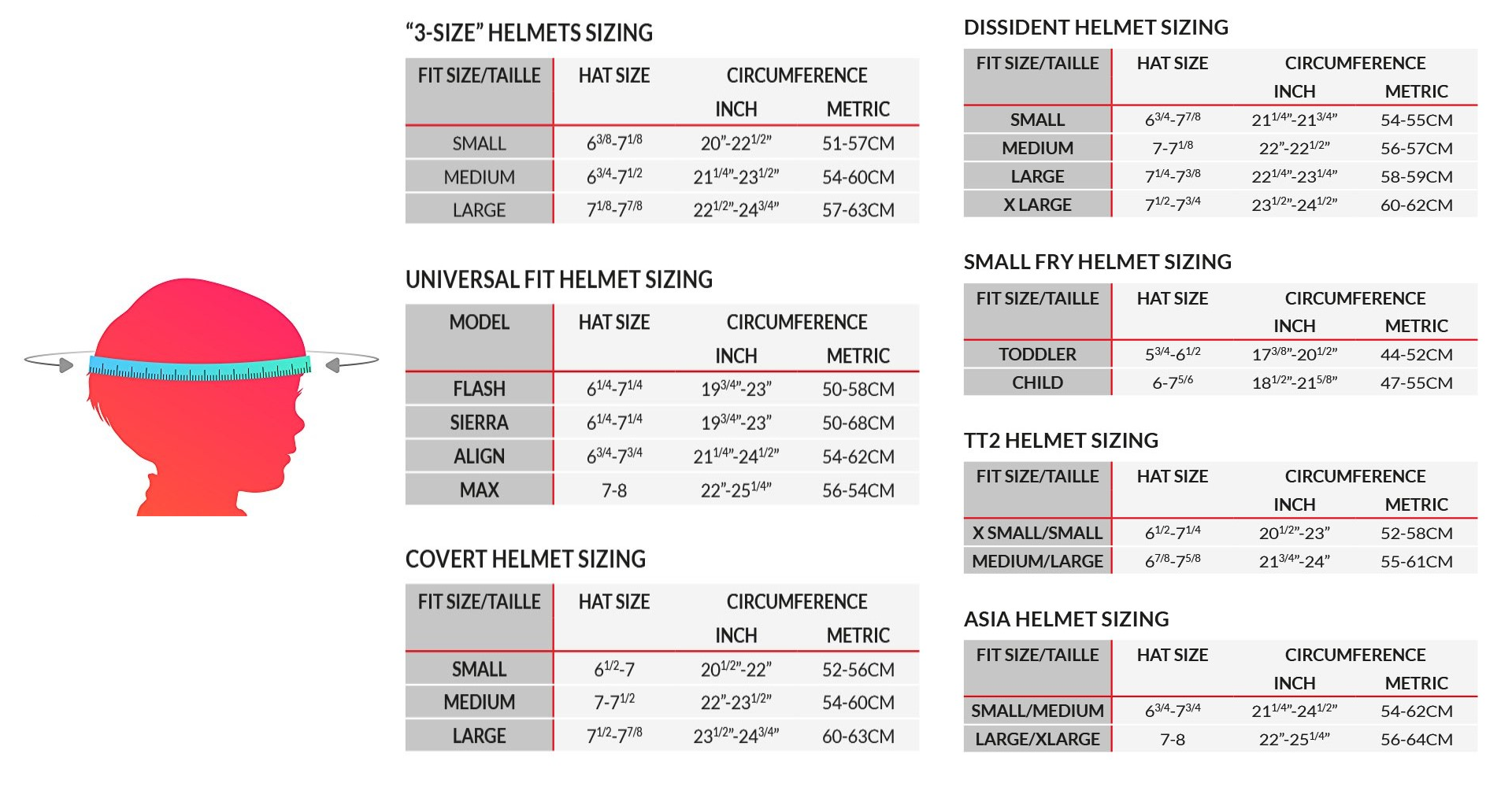 Sizes Helmets Specialized